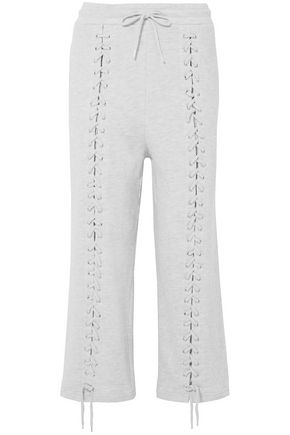McQ Alexander McQueen Lace-up French cotton-blend terry straight-leg pants