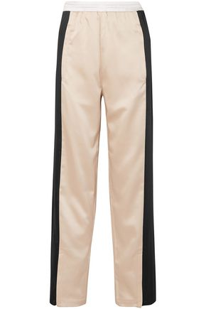 KOCHÉ Two-tone satin track pants