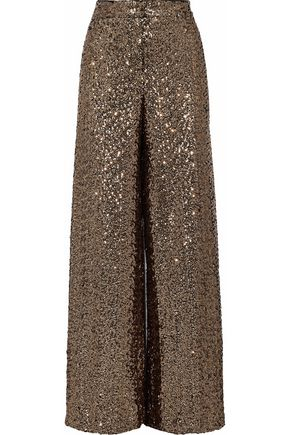 MILLY Sia sequined crepe wide-leg pants