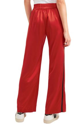 AMIRI Leather-trimmed washed-silk track pants