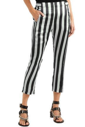 ANN DEMEULEMEESTER Cropped striped silk-satin skinny pants