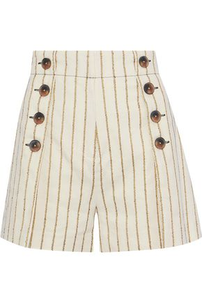 DEREK LAM 10 CROSBY Button-embellished striped twill shorts