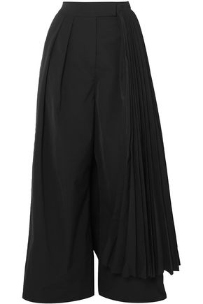 A.W.A.K.E. Layered pleated twill wide-leg pants