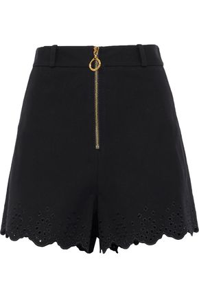 DEREK LAM 10 CROSBY Broderie anglaise-trimmed stretch-cotton shorts