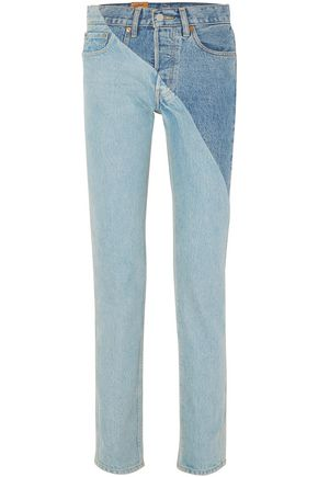 VETEMENTS x LEVI'S Two-tone mid-rise straight-leg jeans