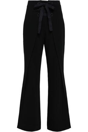 CINQ À SEPT Nica lace-up crepe wide-leg pants