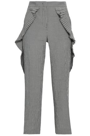 MARCO DE VINCENZO Ruffled gingham woven bootcut pants
