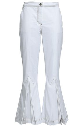 MARCO DE VINCENZO Pleated cotton-twill kick-flare pants