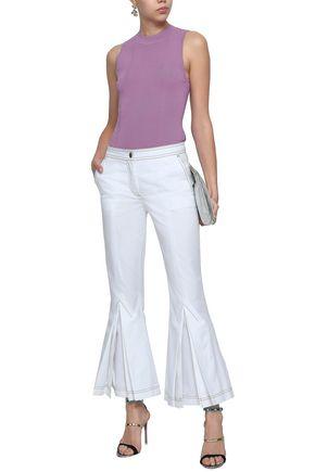 MARCO DE VINCENZO Pleated cotton-twill kick-flare pants