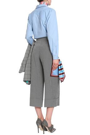 MARCO DE VINCENZO Button-detailed checked wide-leg pants