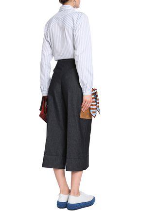 MARCO DE VINCENZO Cropped embellished cotton-blend wide-leg pants