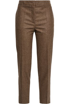 AGNONA Mélange stretch-wool and cashmere-blend tapered pants