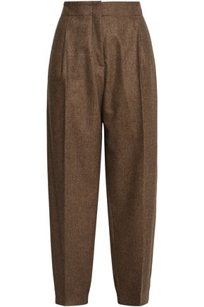 AGNONA Pleated mélange wool-blend tapered pants