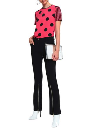 BOUTIQUE MOSCHINO Zip-detailed crepe flared pants