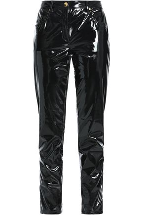 BOUTIQUE MOSCHINO Faux patent-leather slim-leg pants