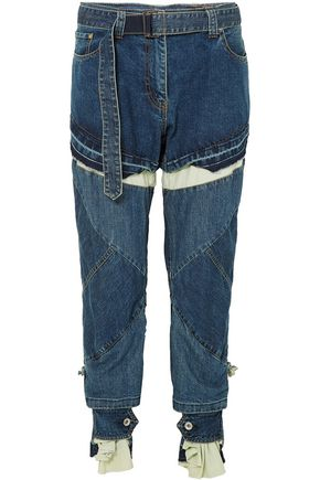 SACAI Distressed layered high-rise boyfriend jeans