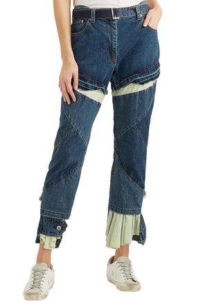SACAI Distressed layered high-rise boyfriend jeans