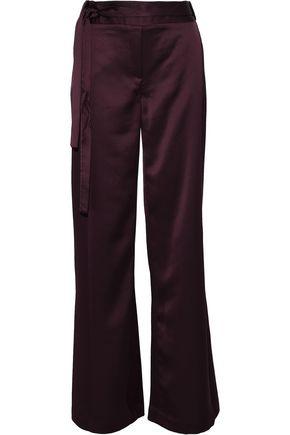 HALSTON HERITAGE Belted satin bootcut pants