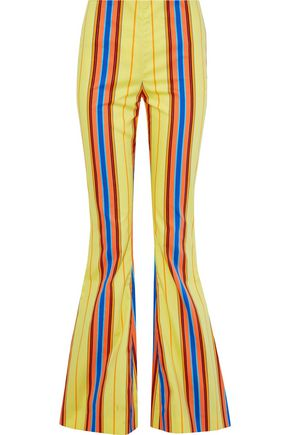 MOSCHINO Striped cotton-blend twill flared pants