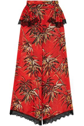 RODARTE Lace-trimmed printed silk-blend crepe de chine wide-leg pants