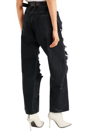 BEN TAVERNITI™ UNRAVEL PROJECT Oversized distressed high-rise wide-leg jeans
