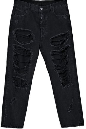 BEN TAVERNITI™ UNRAVEL PROJECT Distressed high-rise straight-leg jeans