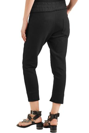 ANN DEMEULEMEESTER Cropped ribbed stretch-cotton jersey track pants
