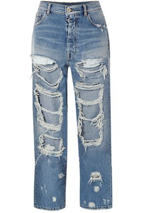 BEN TAVERNITI™ UNRAVEL PROJECT Oversized distressed high-rise straight-leg jeans