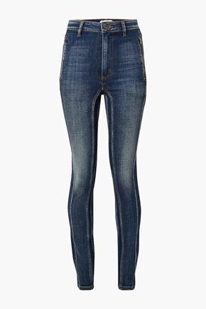 TRE by NATALIE RATABESI Tori distressed paneled high-rise skinny jeans