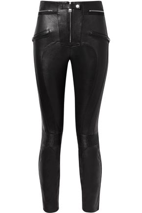 BEN TAVERNITI™ UNRAVEL PROJECT Appliquéd leather skinny pants