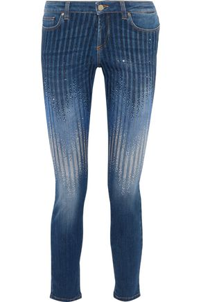 VERSACE COLLECTION Crystal-embellished low-rise skinny jeans