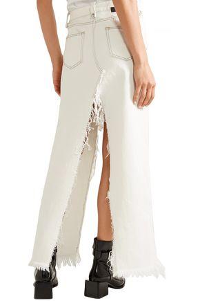 BEN TAVERNITI™ UNRAVEL PROJECT Frayed denim maxi skirt
