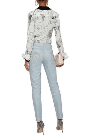 MOSCHINO Printed mid-rise skinny jeans