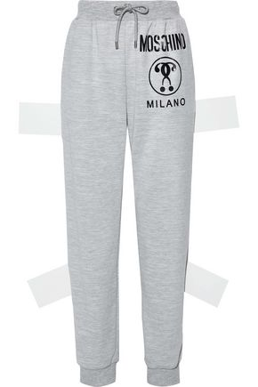 MOSCHINO Printed mélange jersey track pants
