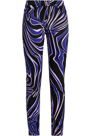 VERSACE Printed cotton-blend twill skinny jeans