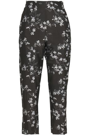 ANN DEMEULEMEESTER Cropped floral-print woven tapered pants