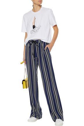 MARKUS LUPFER Agnes striped silk wide-leg pants