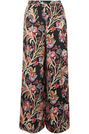 ETRO Floral-print satin wide-leg pants