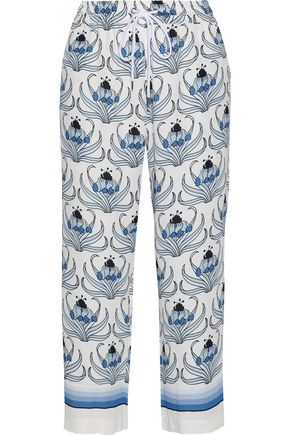 MARKUS LUPFER Orla cropped printed crepe wide-leg pants