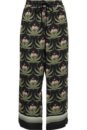 MARKUS LUPFER Orla cropped floral-print crepe de chine wide-leg pants