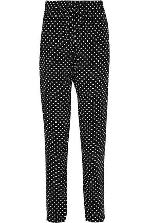 MARKUS LUPFER Printed silk crepe de chine tapered pants