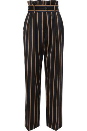 BY MALENE BIRGER Wenyana belted striped wool-blend straight-leg pants