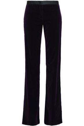 ROBERTO CAVALLI Satin-trimmed velvet bootcut pants