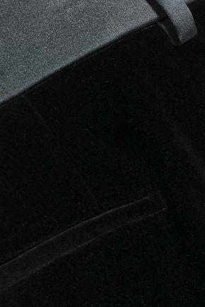 ROBERTO CAVALLI Satin-trimmed velvet slim-leg pants