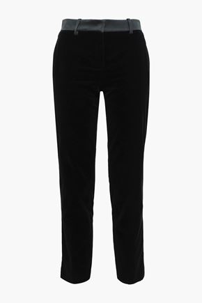 Satin Trimmed Velvet Slim Leg Pants by Roberto Cavalli