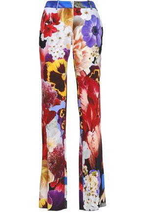 ROBERTO CAVALLI Floral-print stretch-crepe straight-leg pants