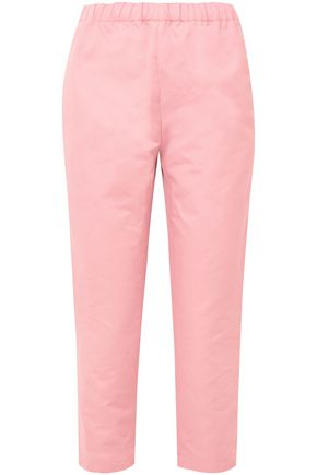 MARNI Cropped cotton and linen-blend twill straight-leg pants