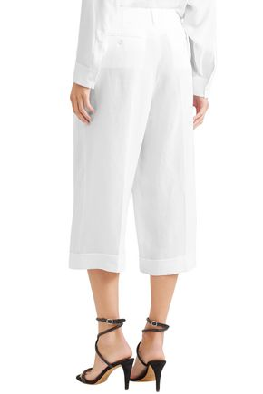 MICHAEL KORS COLLECTION Cropped linen wide-leg pants
