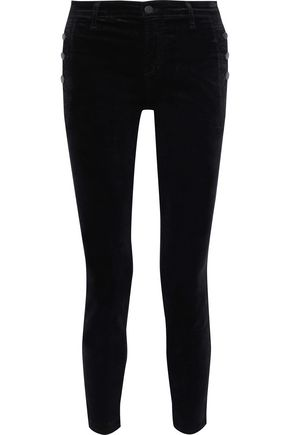 J BRAND Zion button-detailed cotton-blend velvet skinny pants