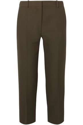 VICTORIA BECKHAM Cropped canvas straight-leg pants